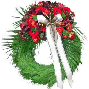 Funeral Wreath with Peruvian Lilies