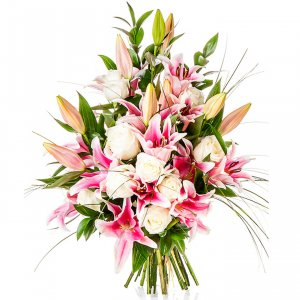 Pink Lilies & White Roses
