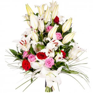 White Lilies & Coloured Roses