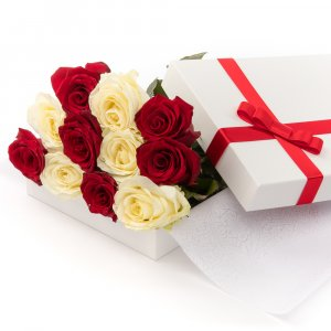 Red & White Roses in a Box