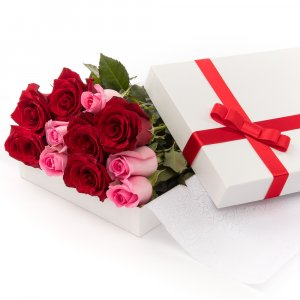 Red & Pink Roses in a Box